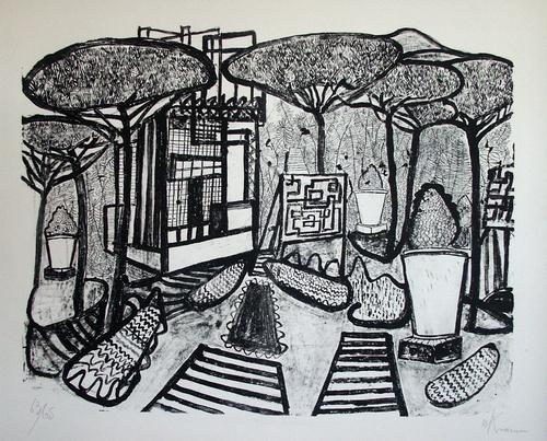 Willibald Kramm - Stadtpark, große Lithographie auf Bütten, sign., numm. 63/65, 1962 kopen? Bied vanaf 60!