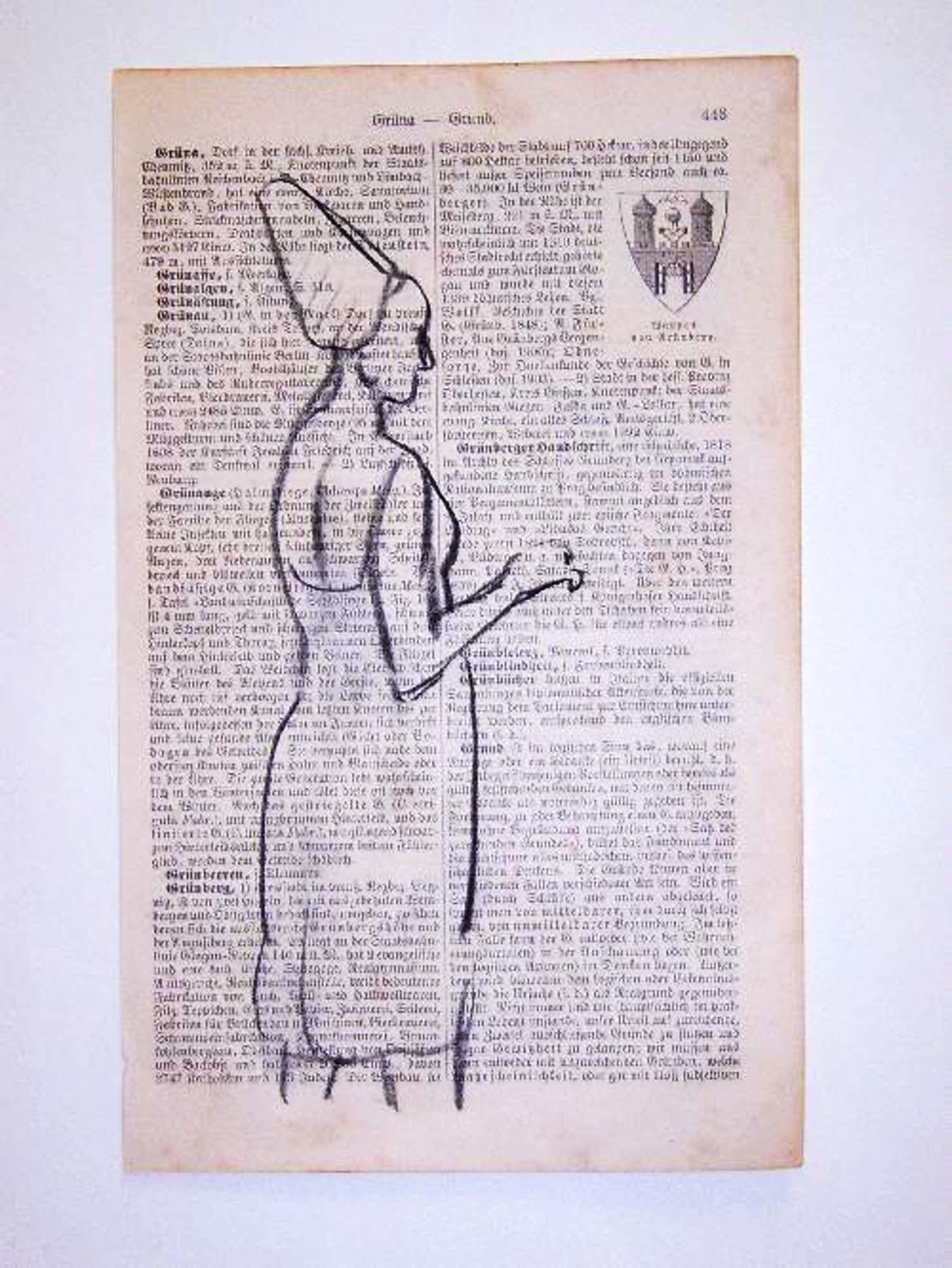 A.R. Penck - - STEHENDE - Original-Kohlezeichnung auf Lexikonseite, 1961 kopen? Bied vanaf 490!