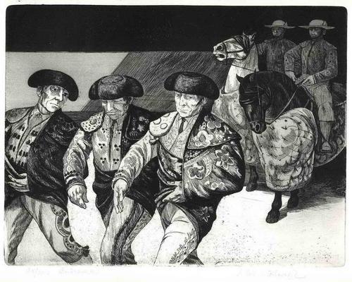 Dick Stolwijk - STIERKAMPF ENTRADA - Handsign.OriginalRadierung des AMSTERDAMer aus INDONESIEN 1968 für SELAS MADRID kopen? Bied vanaf 65!