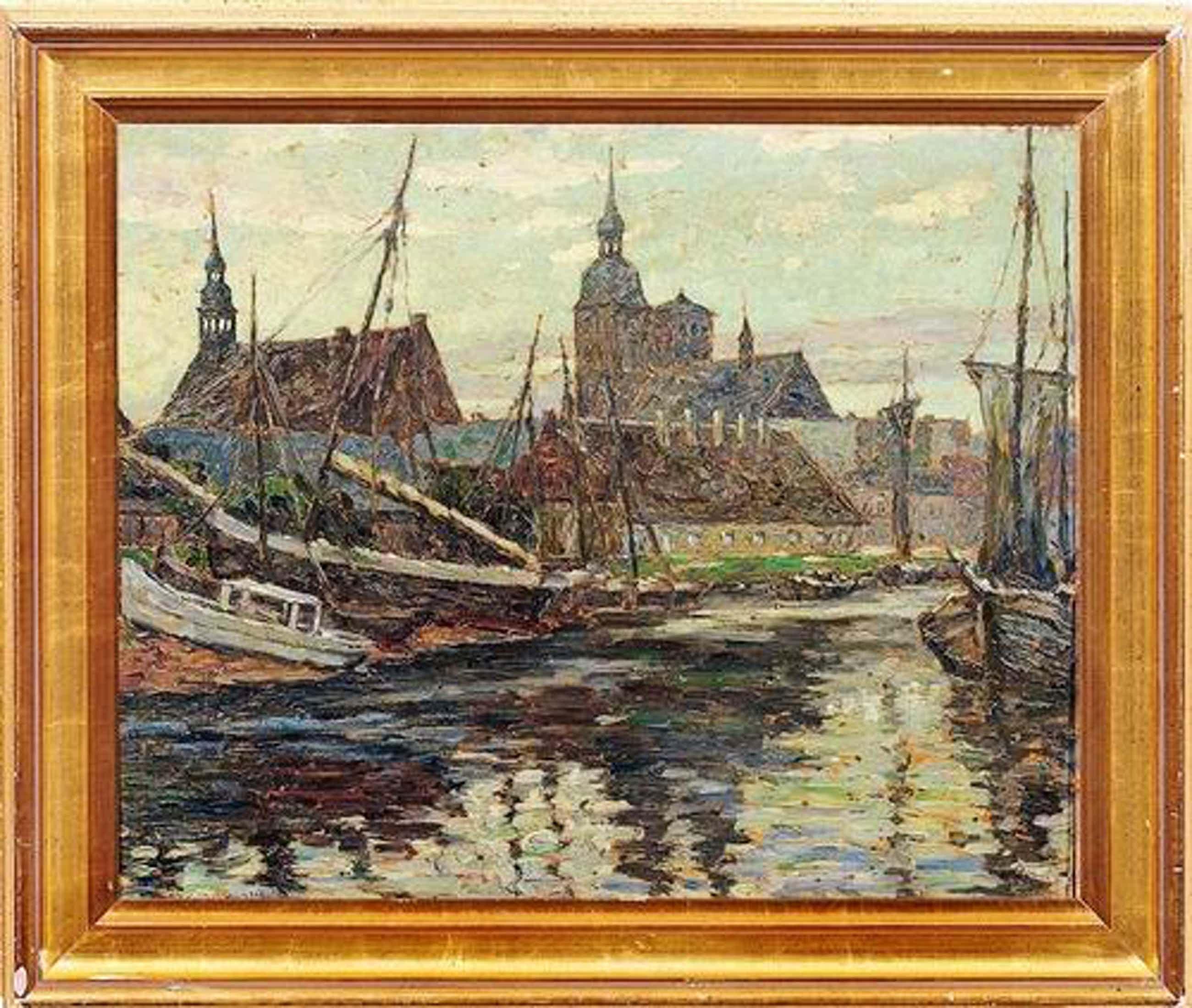 Waldemar Sewohl - Waldemar Sewohl, Stralsunder Hafen mit Nikolaikirche und Heiliggeistkirche kopen? Bied vanaf 1130!