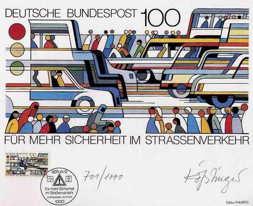 Ernst Kösslinger - STRASSENVERKEHR - vom prämierten MÜNCHENer Graphiker handsigniert - mit gestempelter Briefmarke 1991 kopen? Bied vanaf 28!