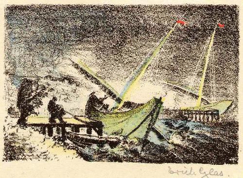 Erich Glas - STÜRMISCHE SEE - Handsignierte OriginalLithographie zum JAPANischen TOSA NIKKI DES Ki no TSURAYUKI kopen? Bied vanaf 55!