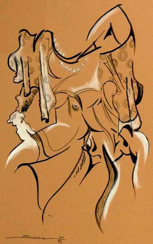 Slava Nikolajew - SURREALE EROTISCHE KOMPOSITION - Sign. TuschFederZeichnung des RUSSISCHEN Karikaturisten aus BERLIN kopen? Bied vanaf 65!