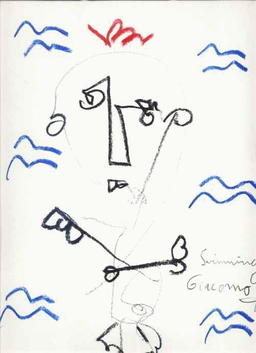 Andreas richert - SWIMMING GIACOMO - FarbStiftZeichnung des GENIUS aus GIESSEN - handsigniert & tituliert 2000 kopen? Bied vanaf 65!