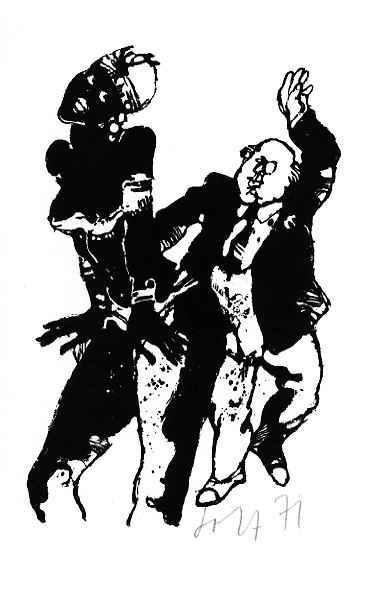 Heinz Jost - TANZ - SCHWARZ-WEISS - OriginalLithographie des SCHWEIZer THEATER-Künstlers1971 handsigniert datiert kopen? Bied vanaf 25!