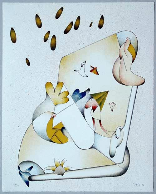 Jan Voss - - TERRAIN D`ENTENTE - Farblithografie auf Bütten, handsigniert, datiert, numeriert kopen? Bied vanaf 180!