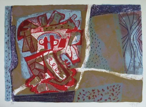 Rodolfo Nieto - Tête rouge, Lithographie in 4 Farben, 1974, signiert, e.a. kopen? Bied vanaf 120!