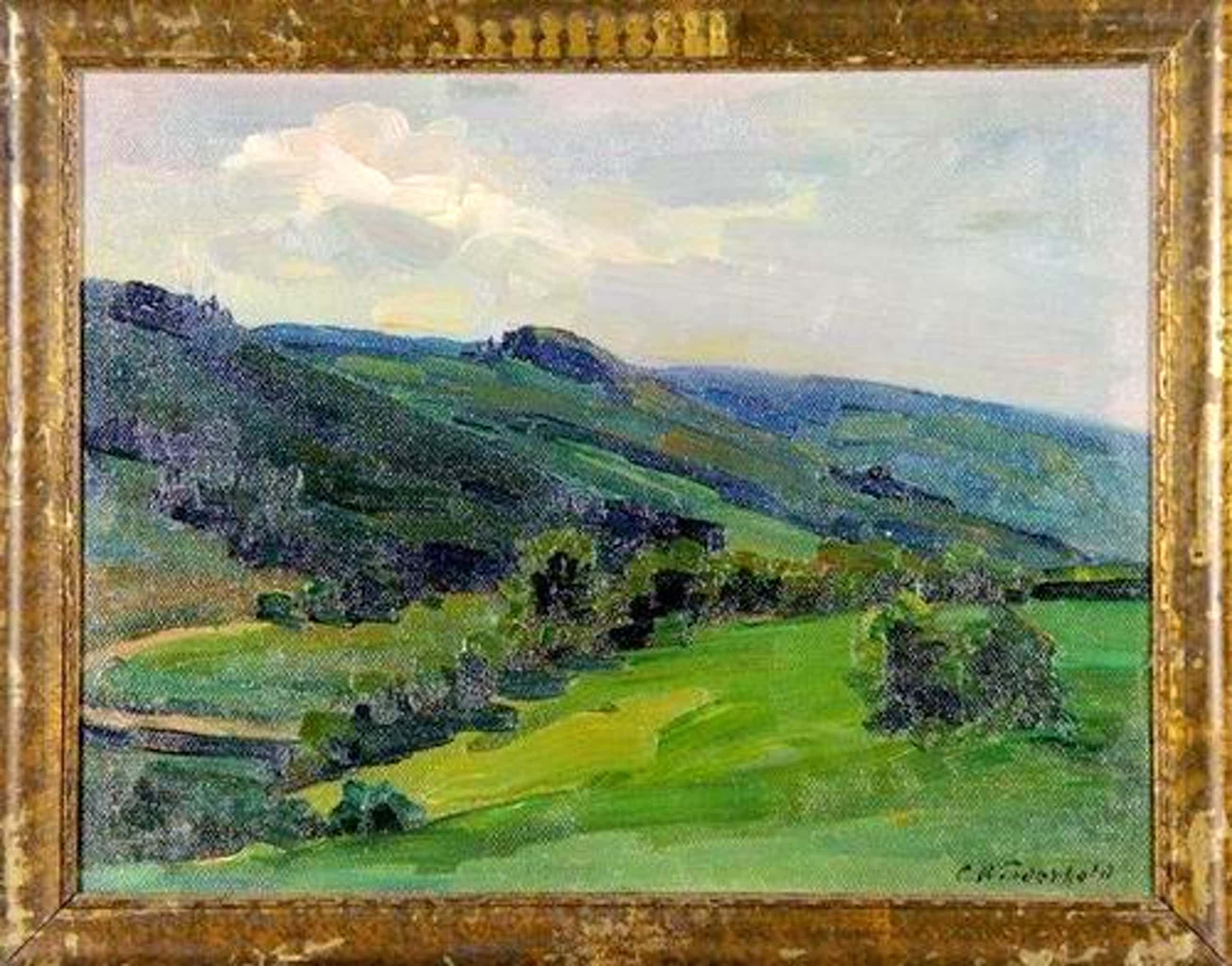 Carl Wiederhold - Teutoburger Landschaft, Öl Gemälde kopen? Bied vanaf 430!