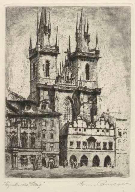 Bruno Reinhold - TEYNKIRCHE in PRAG - Handsignierte & titulierte OriginalRadierung des DDR-BERLINers (geb. 1891) kopen? Bied vanaf 45!
