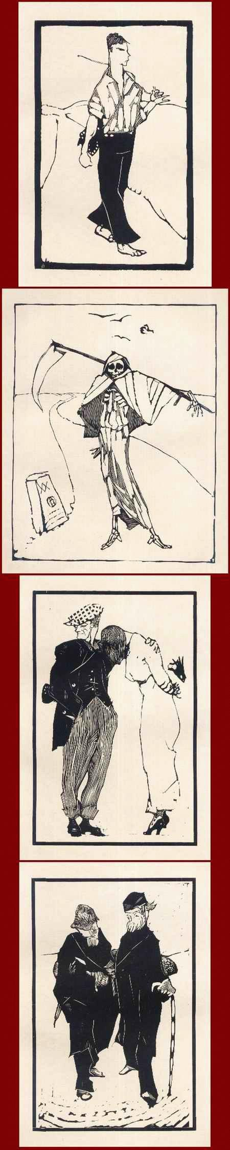 Arminius Hasemann - TIPPELBRUDER - ABSCHIED - TOD - PHILOSOPHEN 4 OriginalHolzschnitte d.abenteuerlichen Wanderers 1915 kopen? Bied vanaf 65!