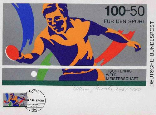 Hans Peter Hoch - TISCHTENNIS 1989 - vom Künstler a.Baltmannsweiler/ESSLINGEN handsigniert 1990 mit OriginalBriefmarke kopen? Bied vanaf 28!