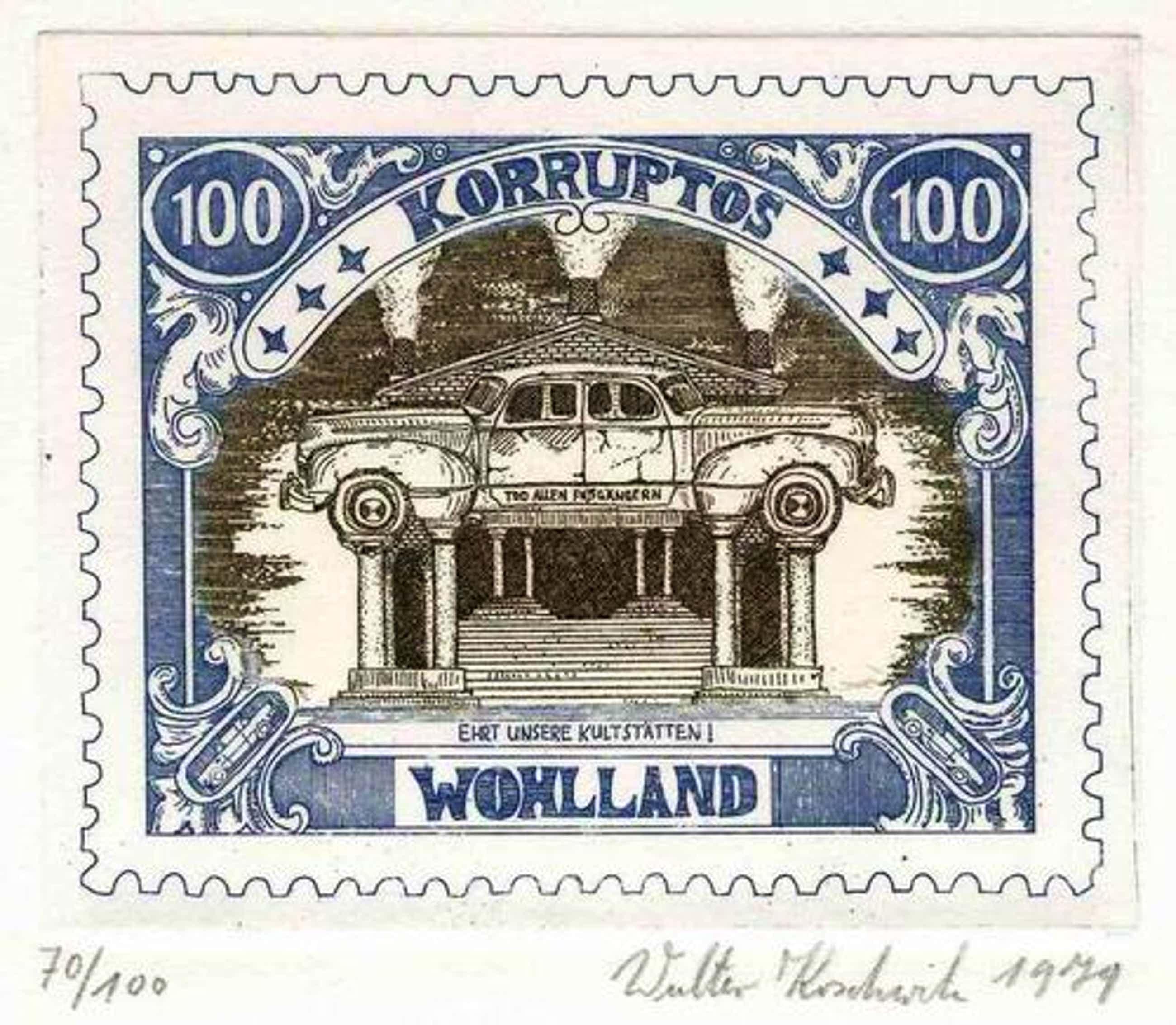 Walter Koschwitz - TOD ALLEN FUßGÄNGERN - Handsignierte Original Farbradierung aus der Reihe WOHLLAND 1978 kopen? Bied vanaf 32!