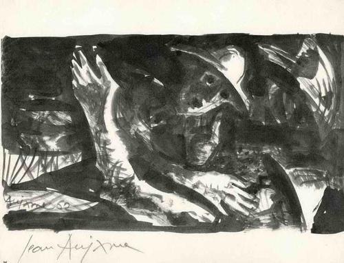 Jean Aujame - TOD in den FELDERN 1963 - Handsignierte Druckgraphik auf ARCHES-Bütten (COSTA RICA) kopen? Bied vanaf 35!