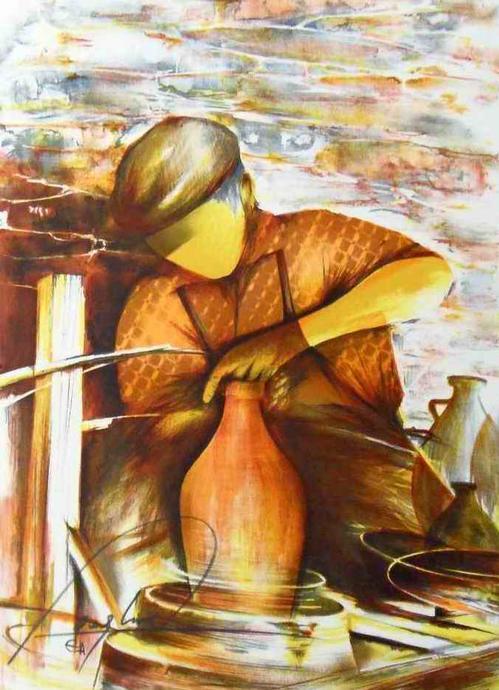 Raymond Poulet - TÖPFER - Handsignierte OriginalFarbLithographie des PARISer Künstlers aus der Reihe ALTE BERUFE kopen? Bied vanaf 48!