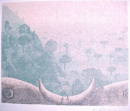 Karl Rössing - Töscanische Landschaft, Farblinolschnitt 1975 kopen? Bied vanaf 30!