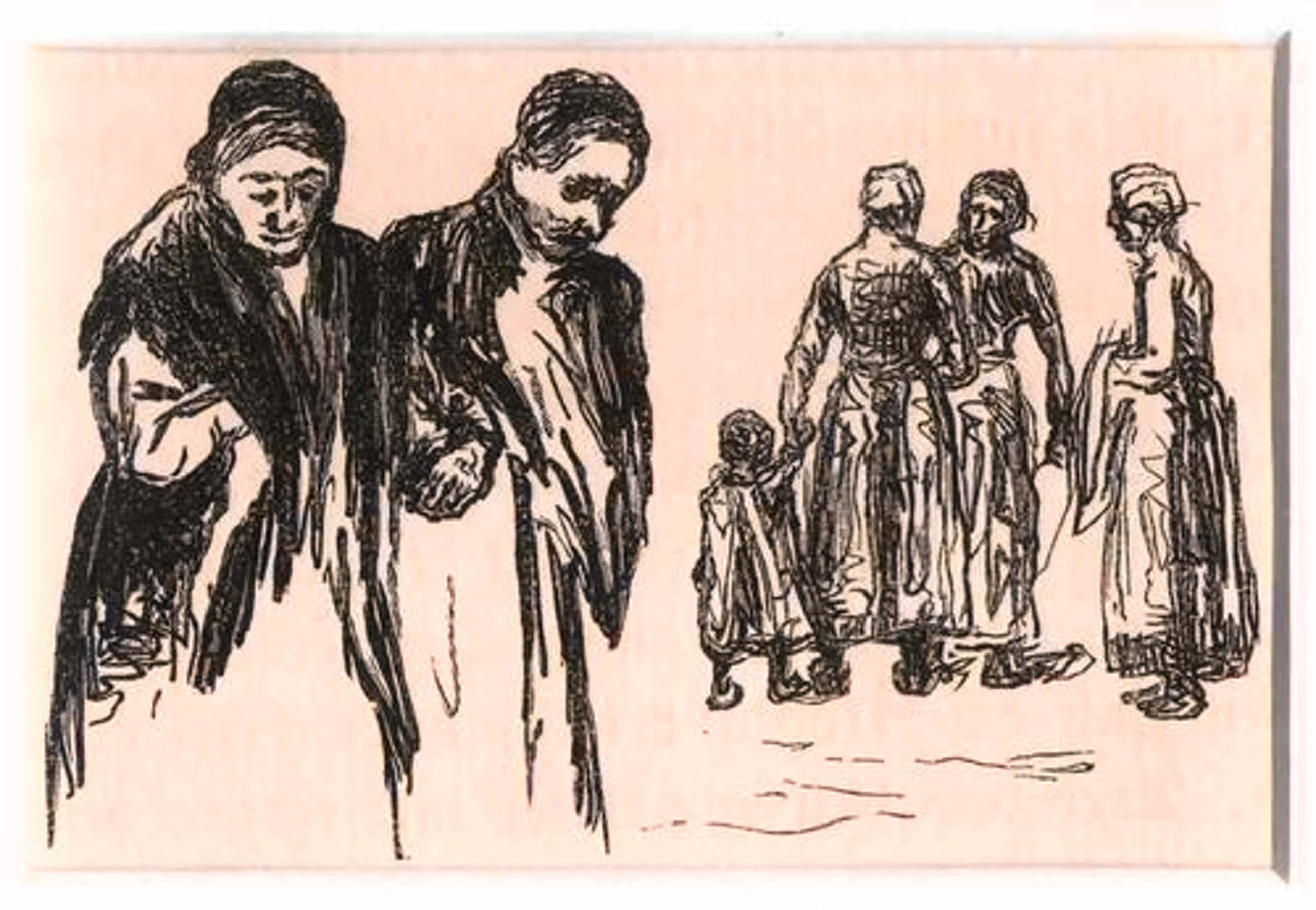 Max Liebermann - TRAUERNDE FRAUEN - OriginalHolzschnitt 1922 - von Reinhold HOBERG ins Holz geschnitten (Unter PP) kopen? Bied vanaf 55!