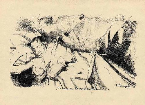 Arthur Kampf - TRAUM des BERICHTERSTATTERS Original-Lithographie des Direktors der HfbK BERLIN 1928 im Stein sign. kopen? Bied vanaf 35!