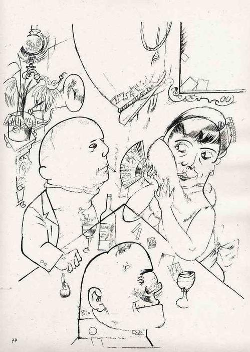 Georg Grosz - TRIO - 1923 - Expressionistische Lithographie - Original aus dem Zyklus ECCE HOMO (MalikVerlag) kopen? Bied vanaf 99!