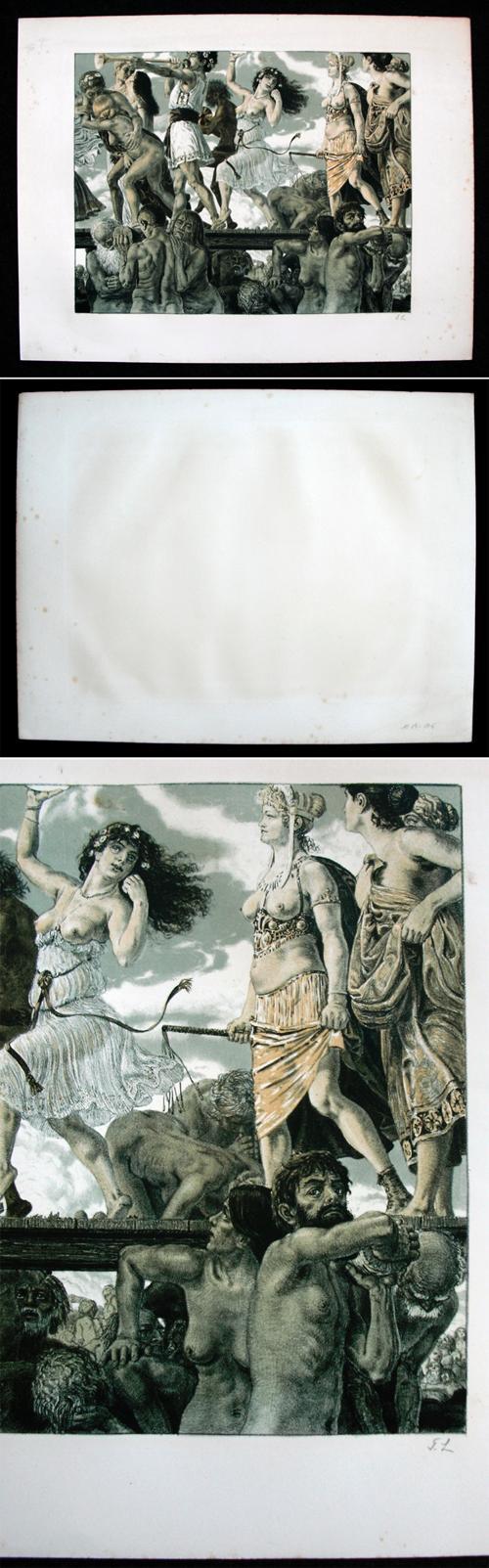 Georg Löhrig - Triumphzug des Geldes. Farblithographie, um 1895-1900. kopen? Bied vanaf 350!