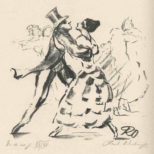 Rudolf Odebrecht - U.a.w.g. - Und SIE TANZTEN einen TANGO - 1925 - Handsignierte & titulierte OriginalLithographie kopen? Bied vanaf 65!