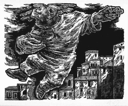 Hans Orlowski - UNHOLD über der STADT - 1946 - Handsignierter OriginalHolzschnitt (KUNSTPREIS d.STADT BERLIN WEST) kopen? Bied vanaf 45!