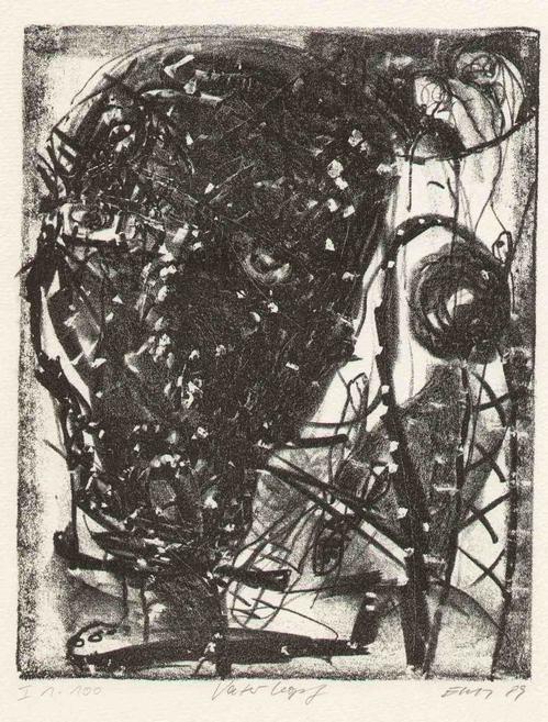 Erich-Wolfgang Hartzsch - VATER-KOPF 1989 - Handsignierte & titul.OriginalLithographie des Multitalents aus CHEMNITZ/ DRESDEN kopen? Bied vanaf 75!