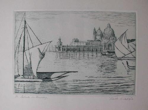 Katharina Krabbes - Venedig - Segelschiffe vor St. Salute - Radierung um 1930 KA Weimar Dresden kopen? Bied vanaf 25!