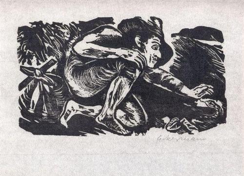 Helmut Ackermann - Vom Undank der Welt - zu Abraham a Santa Clara - Linolschnitt - 1969 kopen? Bied vanaf 45!
