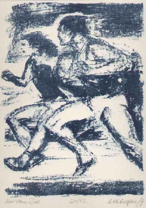 Rolf Kiy - - VOR DEM ZIEL - handsignierte OriginalLithographie des Graphikers & Karikaturisten aus HALLE 1984 kopen? Bied vanaf 65!