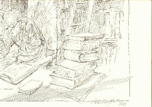 Walter Wellenstein - Walter Wellenstein Der Bücherfreund signierte Zeichnung kopen? Bied vanaf 350!