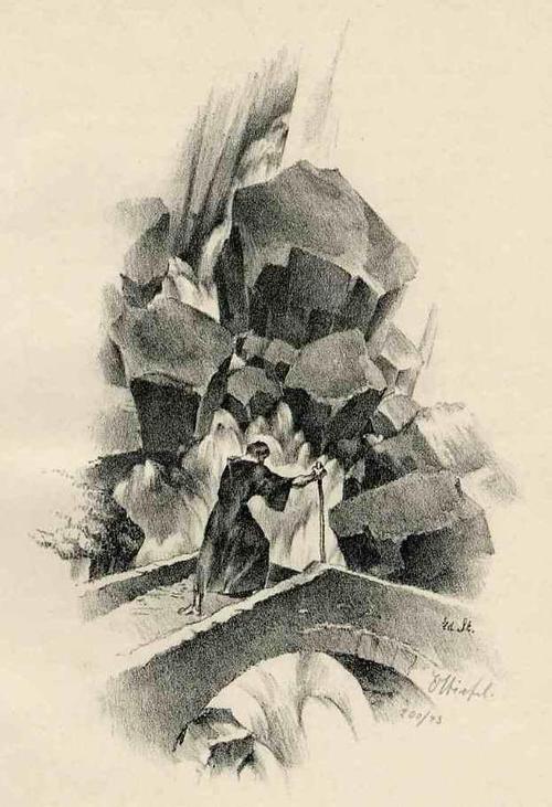 Edward Stiefel - WANDERUNG im GOTTHARDMASSIV (SCHWEIZ) - 1920 - Handsignierte OriginalLithographie kopen? Bied vanaf 35!