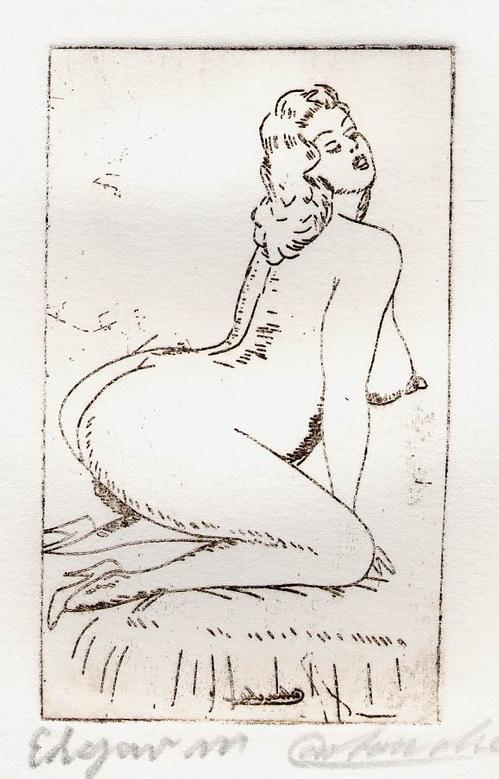 Edgar Mrugalla - WEIBLICHER AKT - Handsignierte OriginalRadierung des CARTOUCHE genannten KÖNIGS der KUNSTFÄLSCHER kopen? Bied vanaf 45!