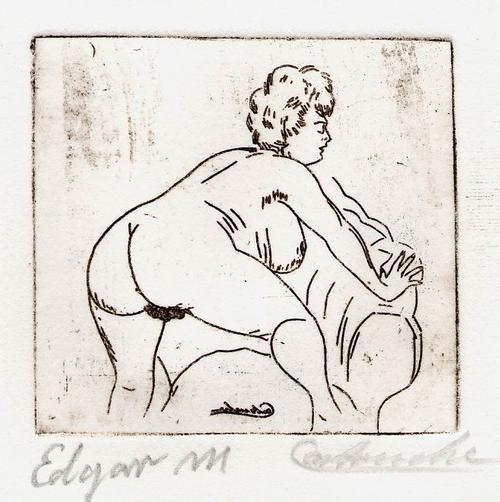 Edgar Mrugalla - WEIBLICHER AKT - Handsignierte OriginalRadierung des KÖNIGS der KUNSTFÄLSCHER genannt CARTOUCHE kopen? Bied vanaf 45!