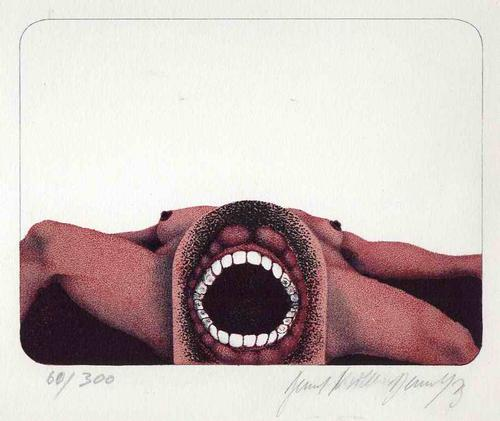 Bernd Müller-Dennhof - WEIBLICHER AKT mit ZAHNREIHEN - 1973 Handsignierte Original Zinklithographie (KUSEL/PFALZ) kopen? Bied vanaf 65!