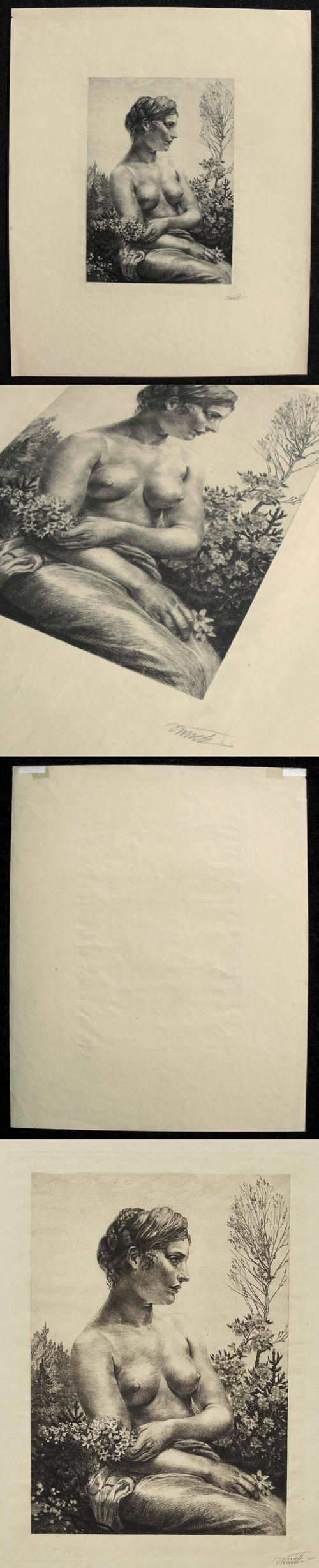 Paul Bürck - Weiblicher Halbakt in Landschaft. signierte Radierung, 1909. kopen? Bied vanaf 260!