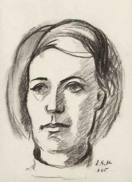 Ernst Georg Heussler - Weibliches PORTRAIT - Handsignierte Original KreideZeichnung d. SCHWEIZer WANDMALERs aus BASEL 1965 kopen? Bied vanaf 95!