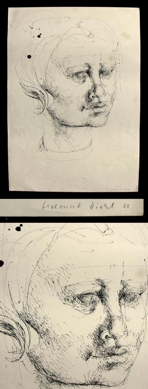 Helmut Diehl - Weibliches Porträt. Federzeichnung, 1952. DDR Graphik. kopen? Bied vanaf 200!
