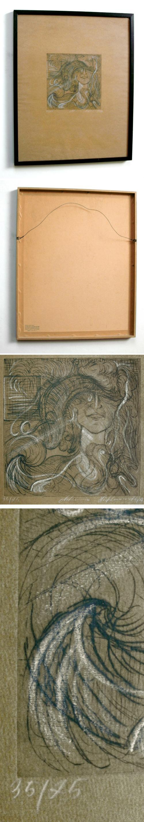 Antonius Höckelmann - Weibliches Porträt. Radierung und weiße Kreide. kopen? Bied vanaf 180!