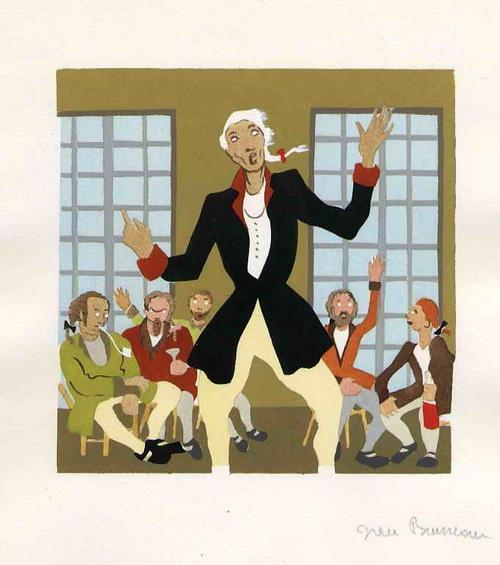 Jean Bruneau - WENN BLINDE von der FARBE REDEN - Handsignierte Tuschezeichnung zu VOLTAIREs PHILOSIPHISCHE ERZÄHL. kopen? Bied vanaf 120!