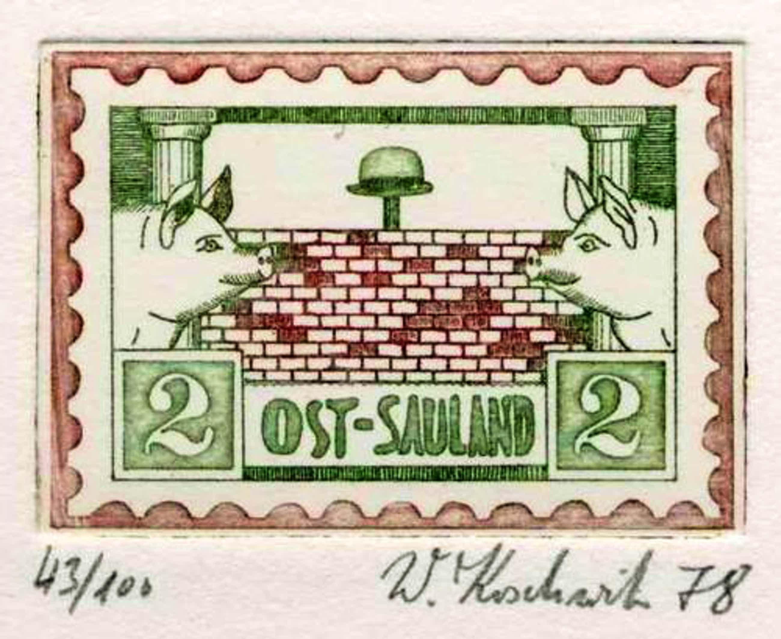 Walter Koschwitz - WEST-SAULAND & OST-SAULAND - 1978 - 2 Handsignierte Original Farbradierungen kopen? Bied vanaf 58!