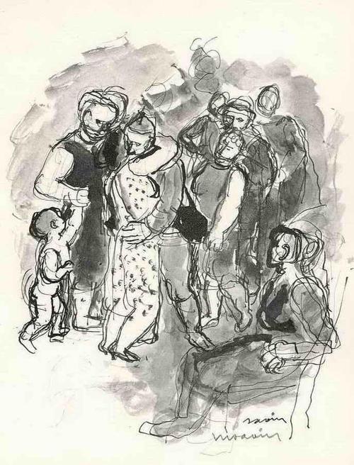 Maurice Savin - WIEDERSEHEN in HERZLICHER UMARMUNG Handsignierte Druckgraphik auf ARCHES-Bütten kopen? Bied vanaf 35!