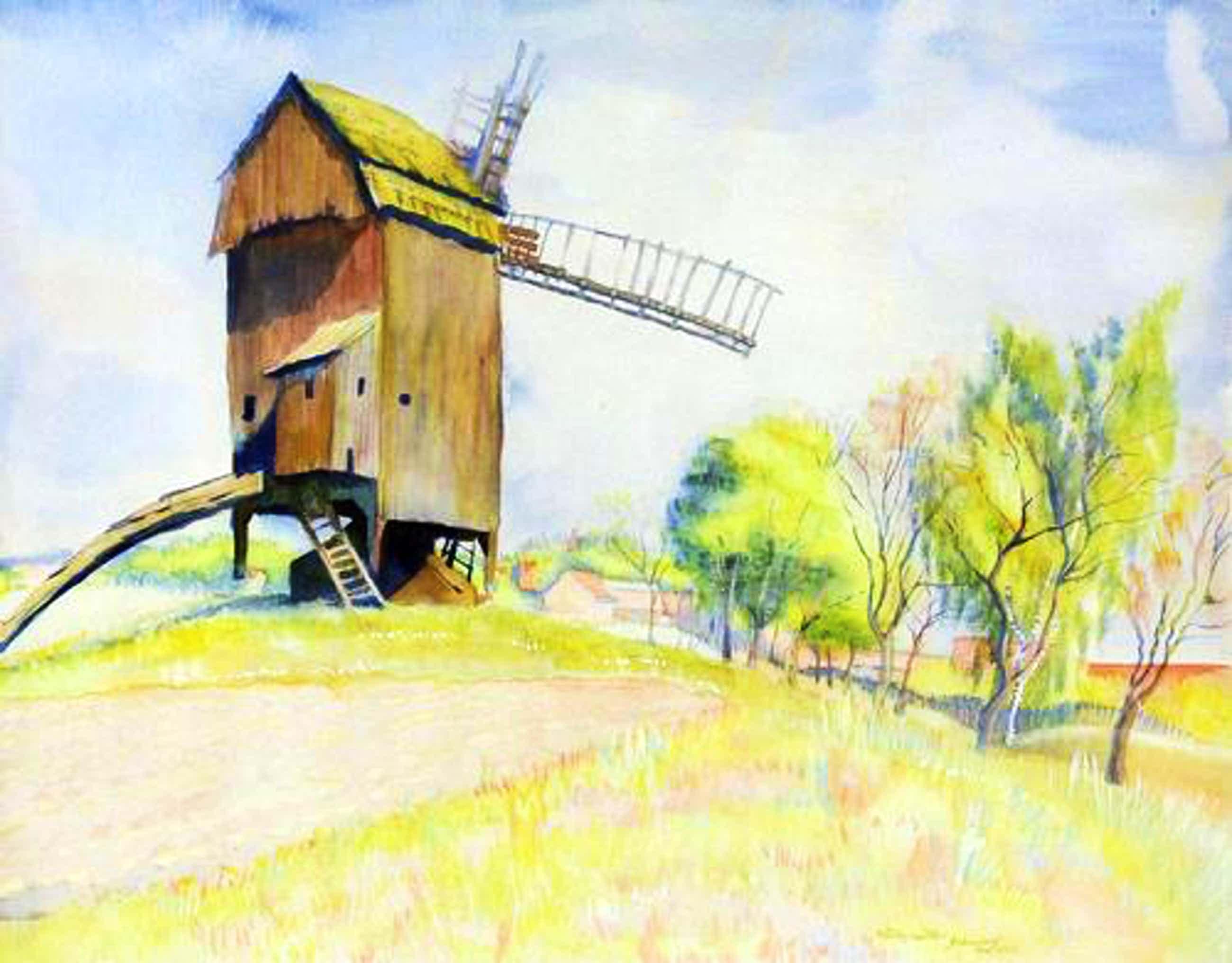 Conrad Felixmüller - Windmühle bei Gebersdorf/Teltow, 1940, Aquarell auf leichtem Karton kopen? Bied vanaf 5900!