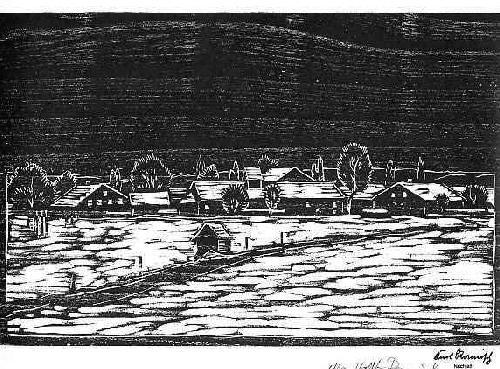 Karl Ramisch - WINTERLANDSCHAFT - 1986 Holzschnitt - mit dem NachlassStempel & der Signatur der TOCHTER (BÖHMEN) kopen? Bied vanaf 34!
