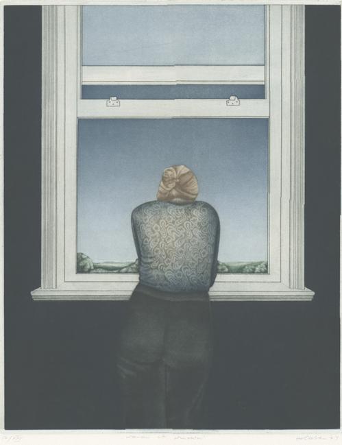 Elisabeth von Holleben - Woman at window, Farbradierung,1974 kopen? Bied vanaf 120!