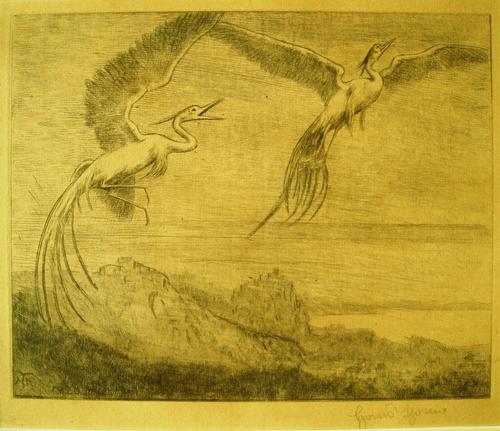 Hans Thoma - Wundervögel, Radierung von 1920, handsigniert kopen? Bied vanaf 120!