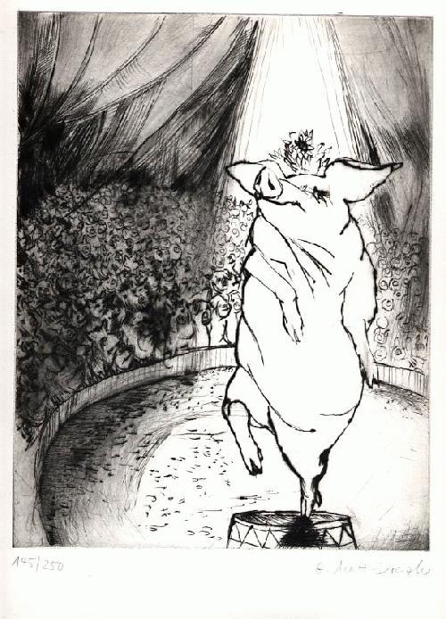 Gisela MOTT-DREIZLER - - ZIRKUSSCHWEIN - 1986 - OriginalKaltnadelRadierung der HUSUM STORM-PREIS-Trägerin - handsigniert kopen? Bied vanaf 65!
