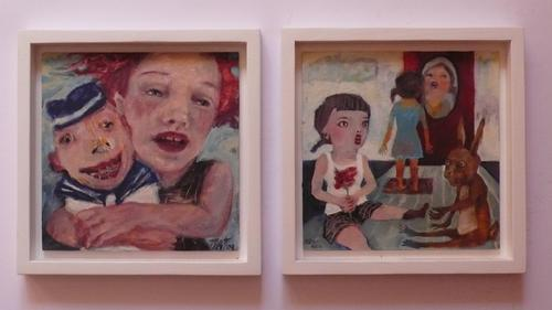 Heike Tödt - Zwei Gemälde aus der Serie -unerzählte Geschichten- von Heike Tödt, je ca. 24/24 cm im Rahmen kopen? Bied vanaf 119!