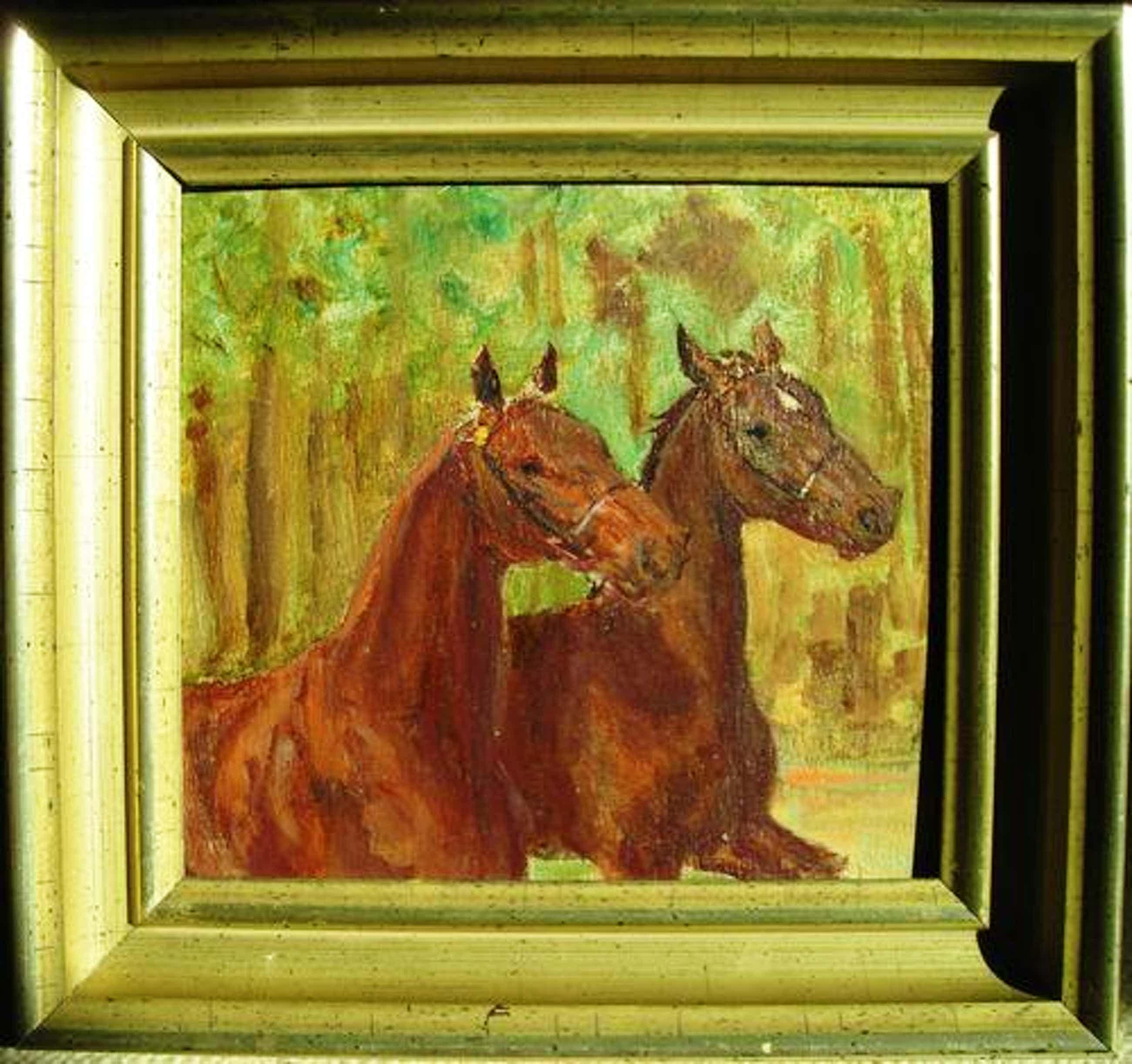 Ludwig Koch - Zwei Pferde, kleines Ölgemälde. kopen? Bied vanaf 380!