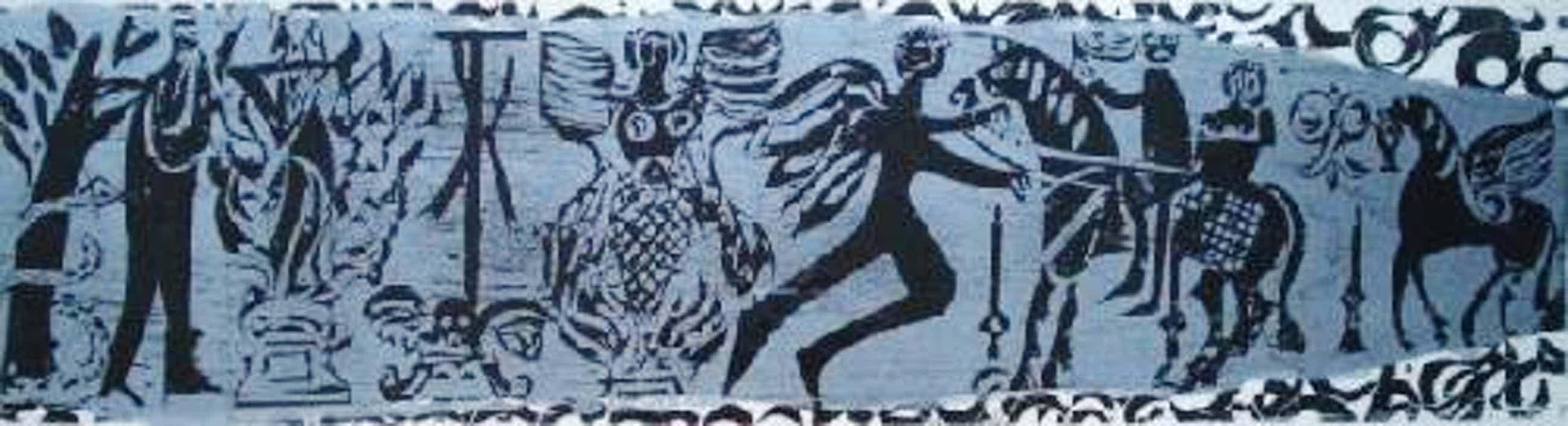 H.A.P. Grieshaber - zweifarbiger Holzschnitt silber/schwarz 77 x 22 cm, 1966 kopen? Bied vanaf 35!