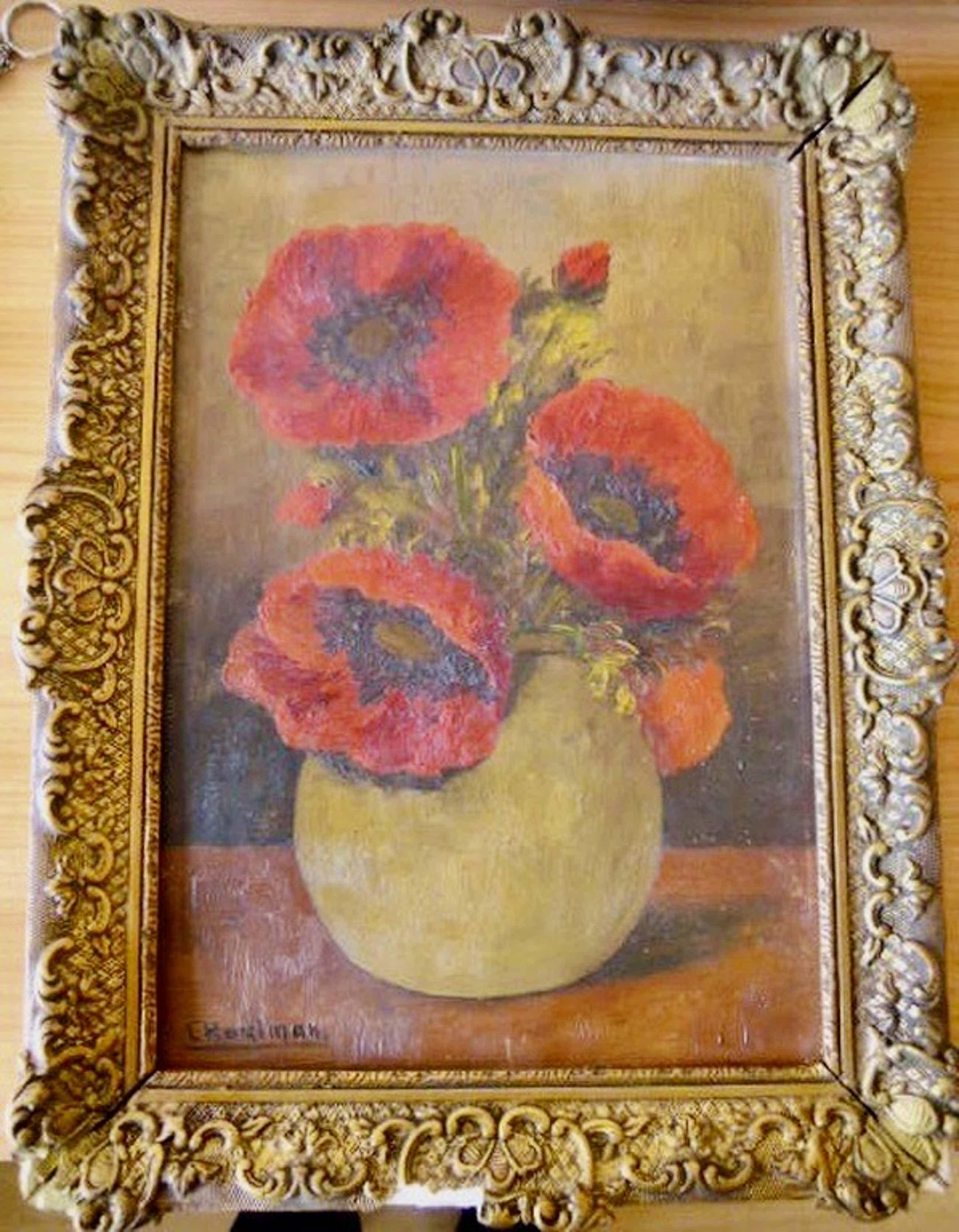 Schilderij L. Hartman - klaprozen - 43 X 32 cm.   kopen? Bied vanaf 60!